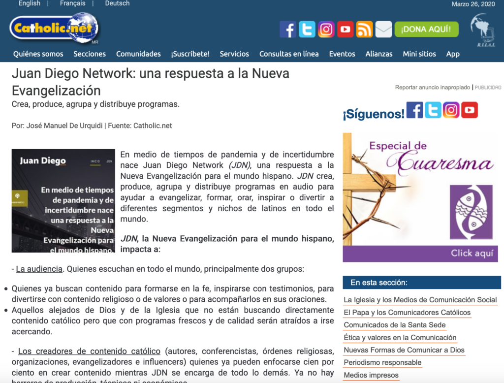 Juan Diego Network en Catholic.net
