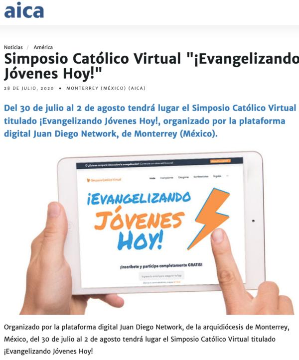 Juan DIego Network Evangelizando Jóvenes Hoy en Agencia Católica Argentina