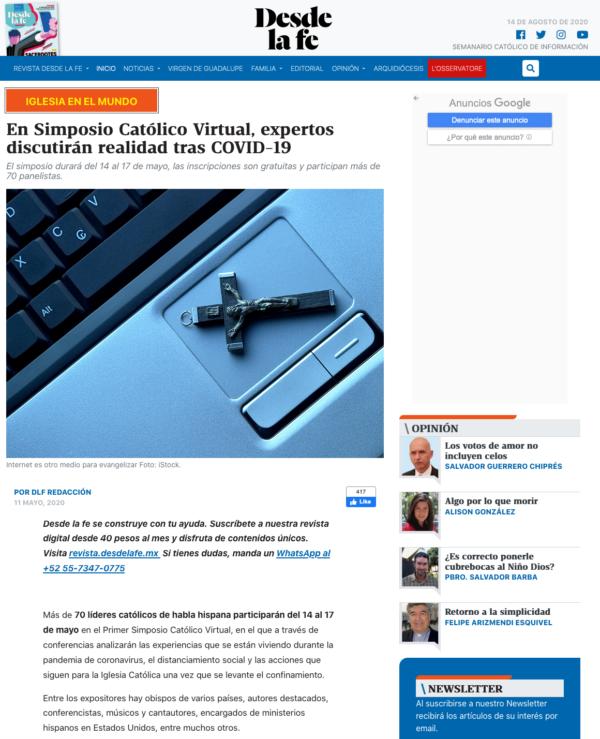 Juan Diego Network organiza el primer simposio católico virtual coronavirus desde la fe