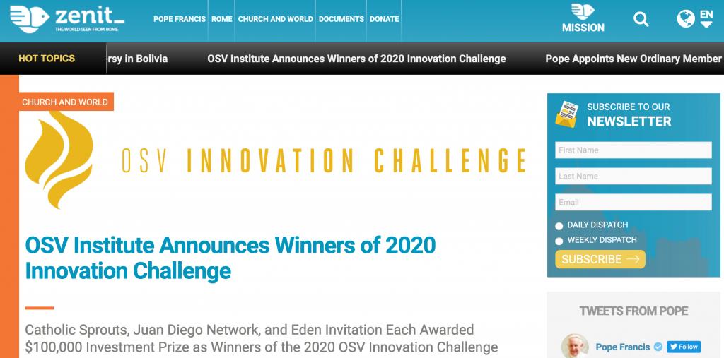 Juan Diego Network OSV Innovation Challenge Zenit