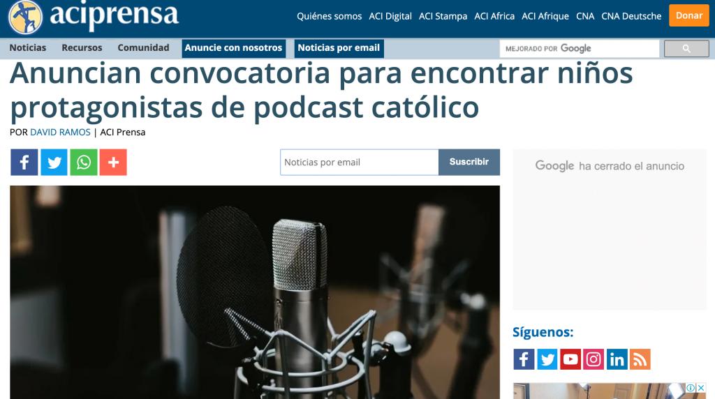 Aciprensa niños podcast Juan Diego Network